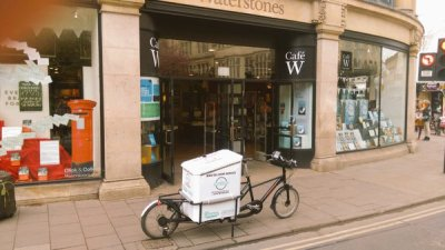 Cargo bike in front of Waterstones